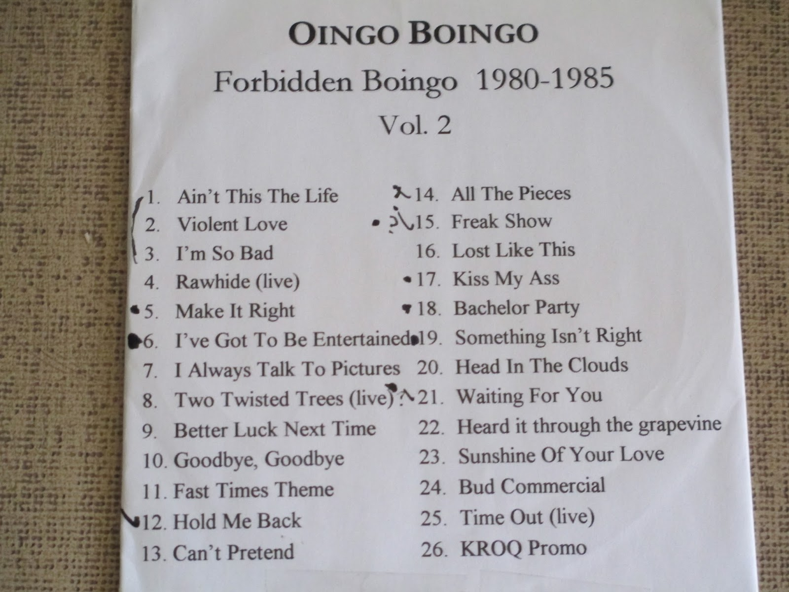 FORBIDDEN BOINGO VOLUME II (1980-1985) 7daylink For Trade Only!!